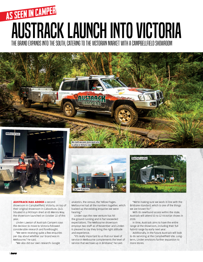 Camper write up on our new Melbourne Showroom